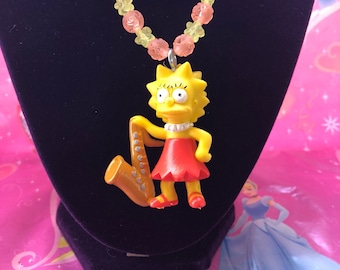 Lisa Simpson Necklace - The Simpson - Lisa Simpson Charm Necklace - Affordable Kids Jewelry - Kids Jewelry - Lisa Necklace