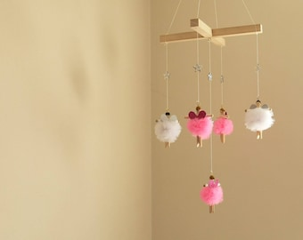 Wooden Fairy Mobile - In Pinks and Whites - One Of A Kind - Nursery Decor - Baby Shower Gift / Little Girls Birthday