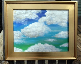 """Cloud painting """"Not Fat, just Fluffy"""" original painting 14""""x18"""" acrylic"""