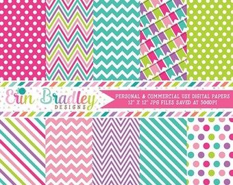 80% OFF SALE Bounce House Girls Digital Paper Rainbow Pack with Chevron Stripes Polka Dots and Bunting Patterns Instant Download