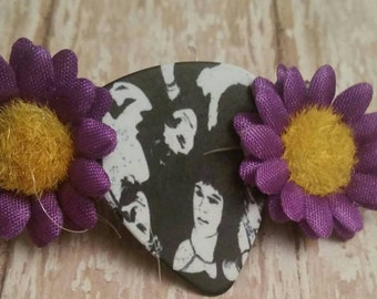 Sheer Heart Attack Custom Guitar Pick Barrette- Daisy accents