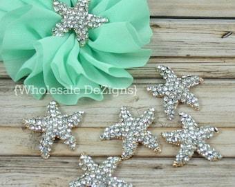 Starfish Rhinestones 29mm Crystal Star Fish - Large Metal Base - 29 mm Gold Plating with Rhinestone Starfish Shaped Embellishments