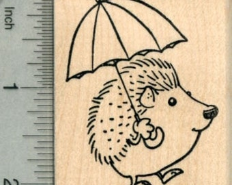 Hedgehog with Umbrella Rubber Stamp, Spring Showers Series H30210 Wood Mounted