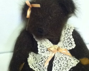 "15"" Mohair Handmade Teddy Bear with crochet dress and leather pads"