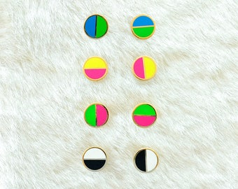 Neon Circle Earrings Geometric Enamel Color Block Black & White