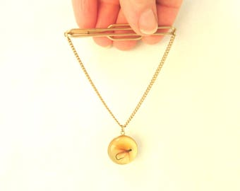 Vintage Tie Bar Clip Angler's Fly Fishing Lure Gold Lucite