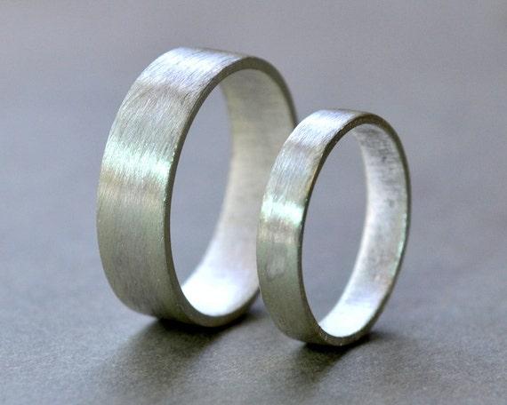 Wedding Rings Wedding Band Set Wide Flat Rings Modern
