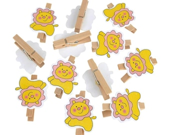 Wooden Lion Clothespins Baby Favors, 2-Inch, 12-Piece