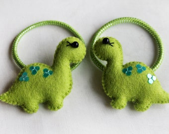 Green Cute Dinosaur Elastic Hair Tie, Ponytail Holders, Hair Accessories, Hair Ties, Girl Hairstyles Eco friendly Wool Felt Accessories