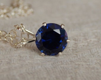 Sapphire Solitaire Necklace, 7mm Sapphire Pendant, Lab Created Sapphire & Sterling Silver Necklace, September Birthstone, Sapphire Necklace