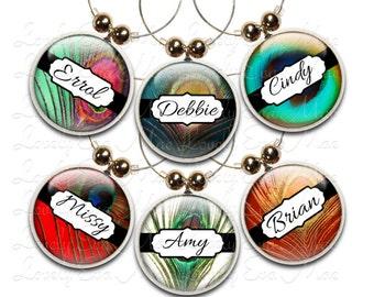 Peacock Feather Wine Charm, Personalized Wine Charms, Wine Gift, Wine Glass Jewelry, Custom Wine Charm, Wine Accessories, Personalized Charm