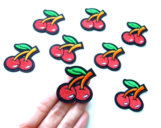 Cherries iron on patch - Rockabilly iron on applique - 50s Pin-up cherry patch - Cherries iron on applique -  Garment transfer - 1950s patch