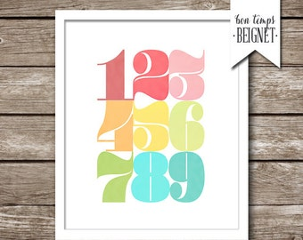 Numbers 1 to 9 - Printable Art - Number Art Typography - Colorful  Modern Number Art - INSTANT DOWNLOAD - 8x10""