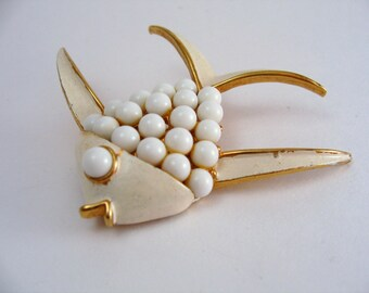 Vintage Fish Pin Brooch Estate Cabochon Mod Vintage Jewelry