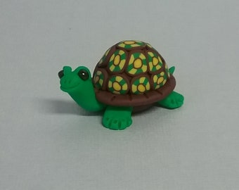 Hand Sculpted Millefiori Shell Turtle in Polymer Clay