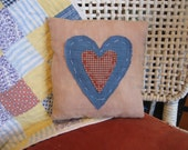 Americana Heart Primitive Pillow, OOAK, FAAP