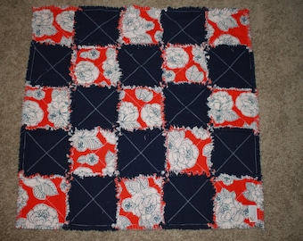 Red, White, and blue floral Rag Quilt