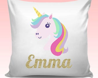 Personalised Any Name UNICORN Cushion Cover Christmas Birthday Gift - Design 2