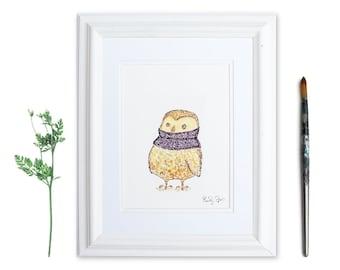 Woodland Nursery, Woodland Animals, Art Print, Watercolor Owl, Whimsical Animal Art, Owl Lover, Gifts for Knitters, Knitting Art, Bird Print