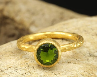 Stackable Birthstone Ring, 24K Yellow Gold over 925 Sterling Silver, Hammered Solitaire Diamond Cut Green Cubic Zirconia Bezel Band Ring