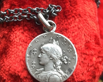 Saint Joan of Arc Medal Necklace Vintage French Silver First Communion Jewelry Gift Vintage Catholic Religious Christian