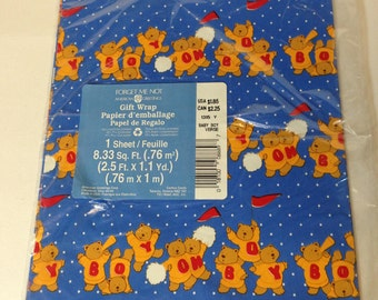 Vintage American Greetings Forget Me Not Bear Wrapping Paper - Baby Boy