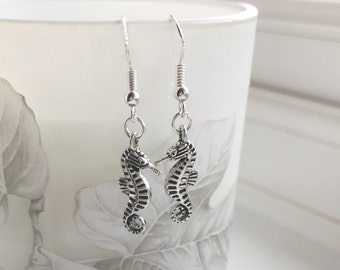 Limited edition Sterling Silver Earrings. Sea horse Drop / Dangle Earrings,  valentines gift, mothers day gift, gift for her