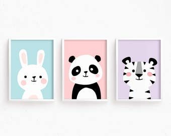 Sale 50% Off - Nursery Art Set of 3 Baby Animals : Bunny Panda Tiger ( Cute Lovely Printable Baby Girls room art kids Poster Digital print )