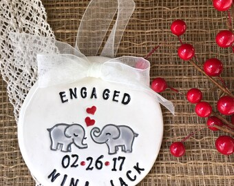Personalized Ceramic Engagement Ornament - Wedding Ornament - Elephant Couple in Love - Engagement Gift - Wedding Gift - Couple Gift