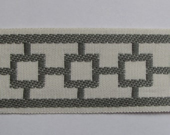 GEOMETRIC jaquard tape /flat trim 2 inch grey white/ivory