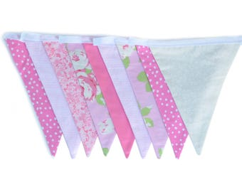 Pink floral banner - Floral bunting flags - Shabby chic banner - Floral nursery decor