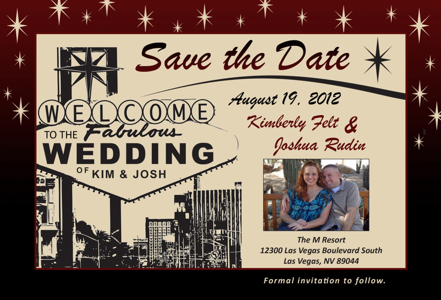 Las Vegas Themed Wedding Save The Date With Photo
