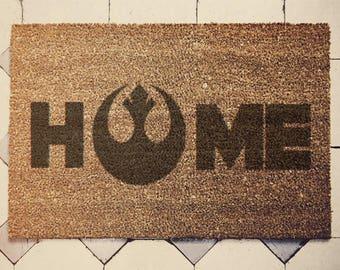 Star Wars Inspired Welcome Doormat coconut jedi HOME Chewie we're home