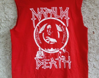 Napalm Death - Life/red shirt rare ! (Death,Repulsion,Bolt Thrower,Carcass,Morbid Angel,Terrorizer,Death metal,Grind Core,Thrash)