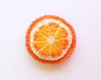 Play Felt Food Orange Slice Hand-Stitched, Pretend Play Food