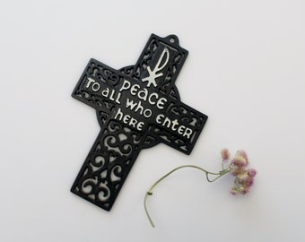 Vintage Plastic Cross Wall Hanging - Chi-Rho Peace To All Who Enter Here  Christian Symbol Art