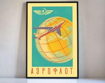Soviet Aeroflot digital print, vintage inspired Aeroflot poster, USSR travel print flight, old skool airline plane print available 4 sizes