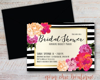 Kate Spade Inspired Invitation   Chic Shower Invitation   Stripe Invitation    Gold Invitation   Flower Invitation   Digital Invitation