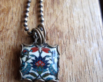 Turkish Folk handmade necklace, Islamic Jewelry, Islamic wedding, Iznik Pottery design, Tribal Jewelry, Middle Eastern Jewelry, Turkish Tile