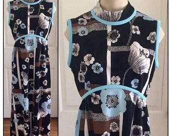 Vintage 1960s 70s Misses' Leslie Fay Original Sleeveless Maxi Dress 6 8