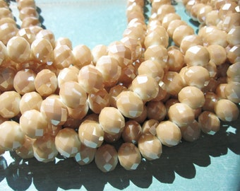 Tan Glass Beads Cafe Latte Milky Butterscotch Bead Faceted Glass Bead Rondelle, 8x10mm Hole 1mm 36 pcs GB1115