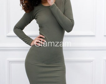 Glamzam 'Kylie'  New Womens Ladies Long Sleeve Bodycon Khaki Olive Green Pencil Mini Dress