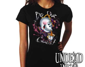 "Beauty and the Beast Mrs Potts and Chip ""Be our guest"" - Ladies T Shirt"