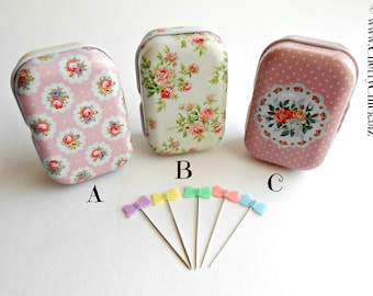 Bow Sewing Pins - Pins in Tins - Decorative Sewing Pins - Quilting Pins - Floral Tins with Pins - Pastel Bow Pins - Quilt Retreat Gifts