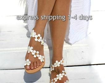 Wedding shoes/ Romantic leather sandals/ Bridal sandals/ Wedding sandal/ Handmade to order leather sandals/ Flower sandals SPRING