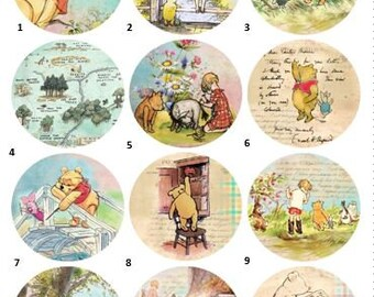 Winnie the Pooh 2.25 inch button, Pocket Mirror or Magnet, gift, party favors, Refrigerator, Baby Shower, Accessories