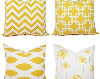 Yellow Couch Pillow Covers - Decorative Pillows - Yellow and White Decorative Throw Pillow - Yellow Euro Sham - Yellow Lumbar Pillow