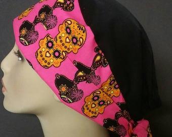 Sugar skull snoopy pixie scrub hat