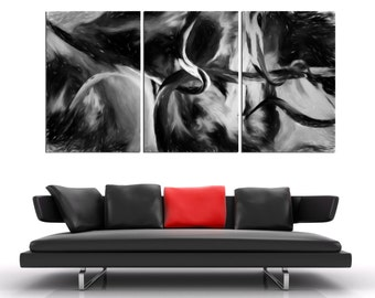 "3 Panel Split  Black and white Abstract Art Canvas Print. 1.5"" deep frames. Art texture effect for home/office wall decor & interior design."