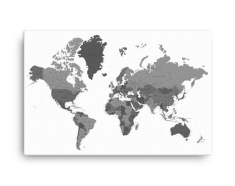 Grey map etsy custom pushpin world map office world map decor canvas world map push pin gumiabroncs Image collections